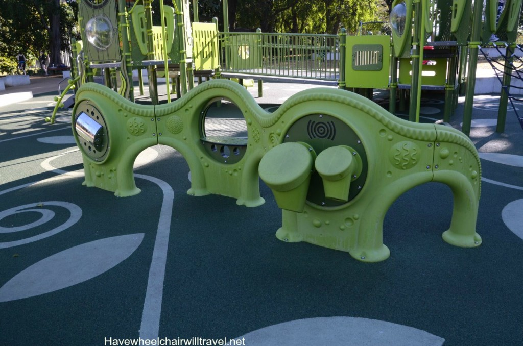Sensory panels are positioned around the park allowing for play in a wheelchair.  I can imagine BJ loving a turn on the bongo drums.
